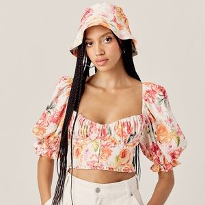 FLL Floral cropped floral bustier puff slv top